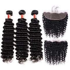 【12A 3PCS+ HD 13*4 Frontal】 Malaysian Deep Wave Human Hair 3pcs and 1pc 13*4 Lace Frontal Closure Malaysian Curly Human Virgin Hair Free Shipping