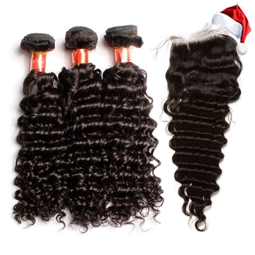 【12A 3PCS+ 4*4 Closure】Brazilian Deep Wave Virgin Human Hair 3 Bundles with 4*4 Lace Closure Unprocessed Ula Hair Free Shipping