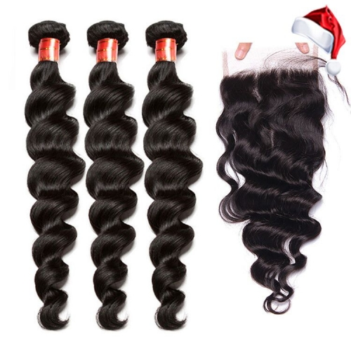 【12A 3PCS+ 4*4 Closure】Fast Shipping Malaysian Loose Wave Virgin Human Unprocessed Hair Bundles 3pcs with 4*4 Lace Closure Free Shipping