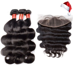 【12A 3PCS+ 13*4 HD Frontal】 Fast Shpping Brazilian Body Wave Human Hair 3pcs and 1pc 13*4 HD Lace Frontal Closure Brazilian Body Wave Human Hair