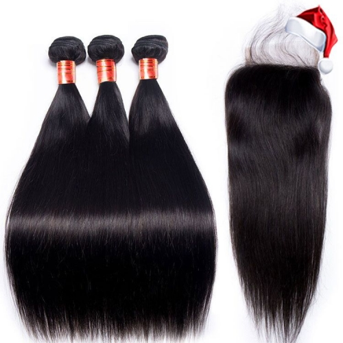 【12A 3PCS+ 4*4 HD Closure】Fast Shipping Malaysian Straight Virgin Hair 3pcs with 4*4 Lace Closure Virgin Hair Bundles Free Shipping