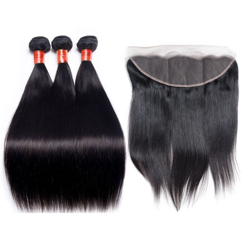【12A 3PCS+ 13*4 HD Frontal】 Brazilian Straight 3pcs and 1pc 13*4 Lace HD And Transparent  Frontal Closure Brazilian Straight Human Virgin Hair Free Sh