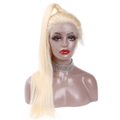 【In stock】13A Grade 180% Density 613# Straight Blonde Color Lace Front Wigs 13x4 Lace Size Virgin Natural Human Hair Hand-tied Wigs, ULW05