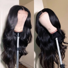 13A 30inch 4*4 Closure Wigs 250% Density Body Wave Virgin Human Hair Transparent Swiss Lace Closure Wigs ULHD08