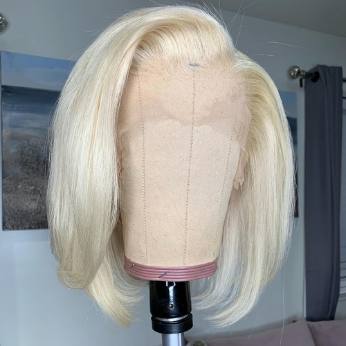 【12inch In Stock】13A 180% Density 13x4 Straight 613# Blonde Lace Front BOB Wig Short BOB Virgin Human Hair 13x4 frontal Lace Wigs ULW13