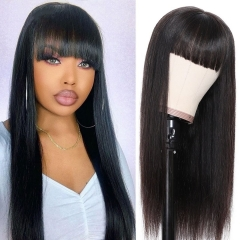 13A 180% Density Full Straight 13x6 Lace Front Wigs With Bangs Virgin Human Hair Lace Wigs Customize for 7 days! ULW16