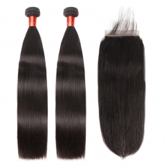 【12A 2PCS+ Closure/Frontal】Straight/Body Wave/Deep Wave Human Hair Bundles 2PCS With Closure or Frontal Free Shipping