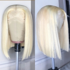 【New Arrival】613# Bob 4*4/13*4 Closure Wig 250% density Blonde Color Straight/Body Wave Virgin Human Hair Customize 3 days