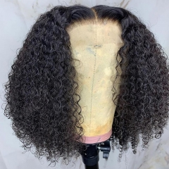 【In stock】13A 180% Density Heavy-full Curly Bob 13*4/13*6 Lace Frontal Curly Wig Human Virgin Hair, ULW01