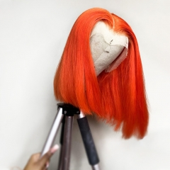【New Arrival】13A Orange Color Straight Bob 4*4/13*4 Closure Wig 250% density Virgin Human Hair Lace Frontal Wigs Customize 7 days
