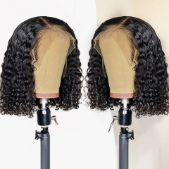 13A Deep Wave Bob 13*4 Closure Wig With 250% Density Virgin Human Hair Customize 3 days
