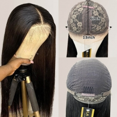 【Middle Part】13A 150% Density L Part Lace Frontal Wig Natural Black Virgin Human Hair Lace Wigs Customed 7 Days