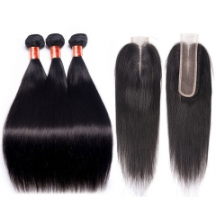 【12A 3PCS/2PCS+2*6 Closure】Fast Shipping Malaysian Straight Virgin Hair With 2*6 Lace Closure Human Hair Bundles Free Shipping