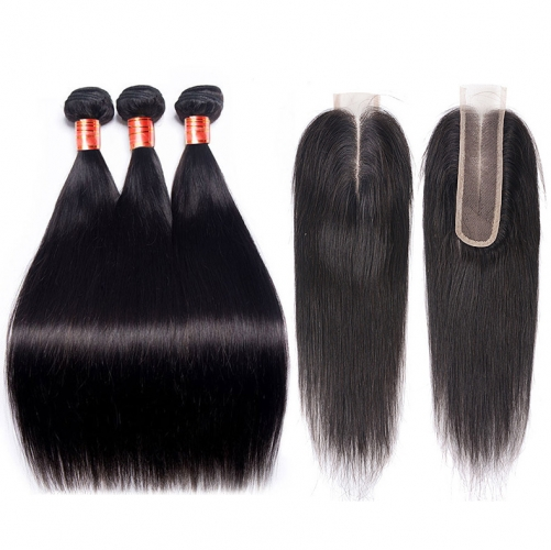 【12A 3PCS+ 2*6 Closure】Brazilian Straight Hair With 2*6 Lace Closure Human Hair Bundles Free Shipping