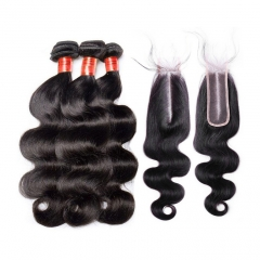 【12A 3PCS/2PCS+2*6 Closure】Fast Shipping Malaysian Body Wave Virgin Hair With 2*6 Lace Closure Human Hair Bundles Free Shipping
