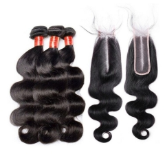 【In Stock】Brazilian Body Wave Virgin Hair With 2*6 Lace Closure Human Hair Bundles Free Shipping