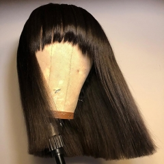【New Arrival】13A 250% Density Full Machine Made Bob Wig Straight Wig With Bangs Virgin Human Hair Customize For 3 Days!