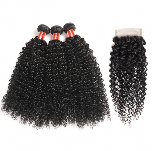 【12A 3PCS+ 4*4 Closure】Brazilian Kinky Curly Virgin Hair 3 Bundles with 4*4 Lace Closure Unprocessed Human Hair Free Shipping