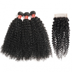 【12A 3PCS+ 4*4 Closure】Peruvian Kinky Curly Virgin Hair 3 Bundles with 4*4 Lace Closure Unprocessed Human Hair Free Shipping