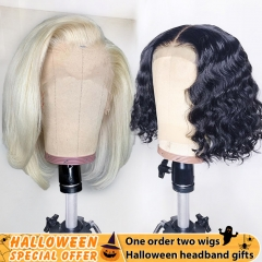 【Special offer❤】13A 613 13x4 Frontal Bob Wig With Water Wave 13x4 Frontal Bob Wig, One Order Get Two Bob Wigs With Gifts