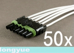 Longyue 50pcs 6-Way female comnector pigtail Weather Pack Wire Harnesses 25cm wire