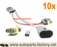 longyue 10pcs 9006 HID Splitter Wiring Harness for Mini Projectors Bi-xenon Headlights 12""