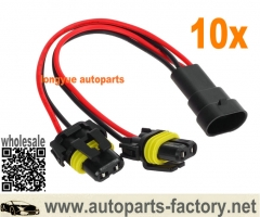longyue 10pcs 9006 HB4 High/low Beam headlight Wires harness Extension Socket Adapter Plug 5""