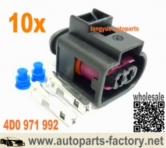 longyue 10pcs 2 Pin Plug Connector VW Jetta Golf Passat Beetle Audi 4D0 971 992 A