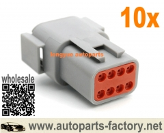 longyue 10kit Deutsch DT 8 Pin Male Connector Kit 18-14 GA Orange Wedgelock Set - with Terminals and seals