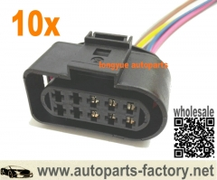 longyue 10pcs 6 wire Headlight Head Lamp Plug Connector Pigtail 05-10 VW Jetta Rabbit MK5 1J0 973 735 8""