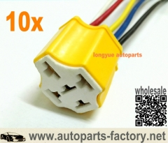 longyue 10pcs Ceramic 5 Pin DC 12V SPDT Automotive Car Wiring Harness Relay Socket 100A 90A 80A 6""