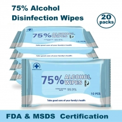 20x 75% Alcohol Disinfection Wipes,Sterilization Rate 99.9%,Universal , 400 bags/carton,Global Shipping ( $0.579-0.779/bag, 20 bag/unit )