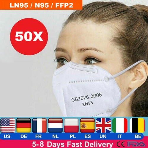 50x  KN95 Respirator Mask, Five-layer Filtration,White/Blue , Global Shipping ( $1.28-1.72/pcs, pack of 50 )
