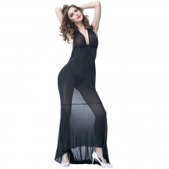 Women Sexy Transparent Black Long Gown