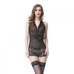 Women Sexy Transparent Black Lace Nightwear