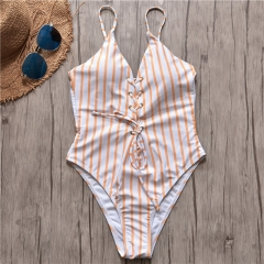 Women Sexy Stripe Lace Up One Piece Swimsuit