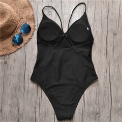 Women Sexy Solid Ruffle One Piece Swimsuit