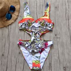 Women Sexy Print One Piece Bathing Suit