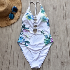 Women Sexy Print One Piece Swimsuit