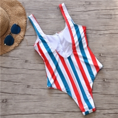 2019 Women Sexy Colorful Stripe One Piece Swimsuit