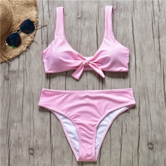 2019 Women Sexy Solid Bowknot Front Bralette Swimsuit