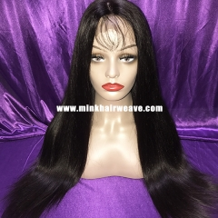 Full Lace Wig 10A Mink Brazilian Hair Natural Color 1B Mink Silky Straight