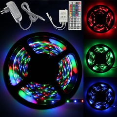 5M 3528 RGB 300 Led SMD Flexible Light Strip Lamp +EU 12V 2A Power Supply+44 key IR