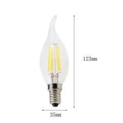 RANPO E14 4W 220V LED Flame Candelabra Bulb, Warm White 2800K,Cool White 6000K,Non-Dimmable Filament Candle Light,40W Equivalent
