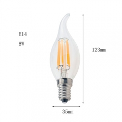 RANPO E14 6W 220V LED Flame Candelabra Bulb, Warm White 2800K,Cool White 6000K,Non-Dimmable Filament Candle Light,60W Equivalent