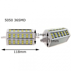 RANPO 5050 R7S J118(118mm) 36SMD 7W LED Flood Lamp Warm Cool White 85-265V