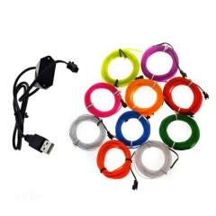 3M Colorful Flexible EL Wire Tube Rope tape Neon Light Glow Car Party + 5V USB Controller