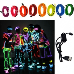 5M Colorful Flexible EL Wire Tube Rope tape Neon Light Glow Car Party + 5V USB Controller