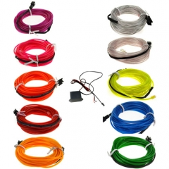 4M Blue Yellow Red White Purple Green Flexible EL Wire Tube Rope tape Neon Light Glow Car Party + DC 12V Car Controller