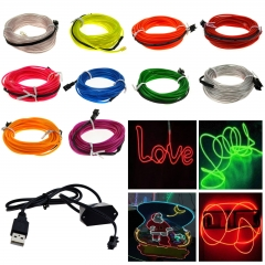 1M Colorful Flexible EL Wire Tube Rope tape Neon Light Glow Car Party + DC 5V USB Car Controller